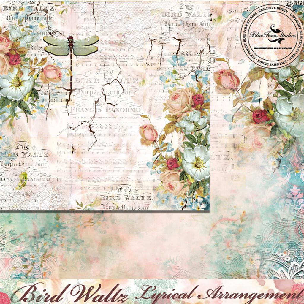 Blue Fern Studios - Bird Waltz - 12x12 dbl sided paper - Lyrical Arrangement (690776)