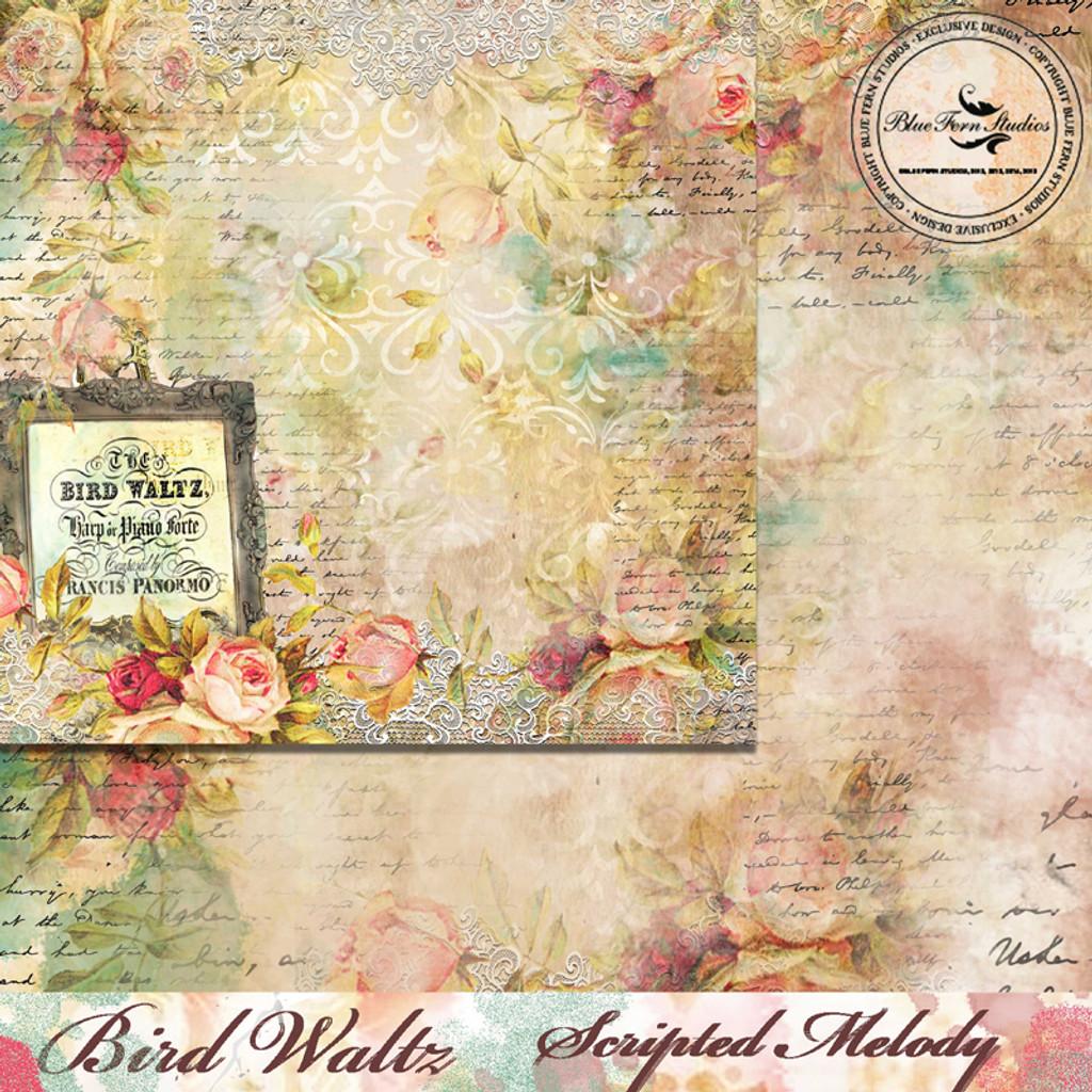 Blue Fern Studios - Bird Waltz - 12x12 dbl sided paper - Scripted Melody (690677)