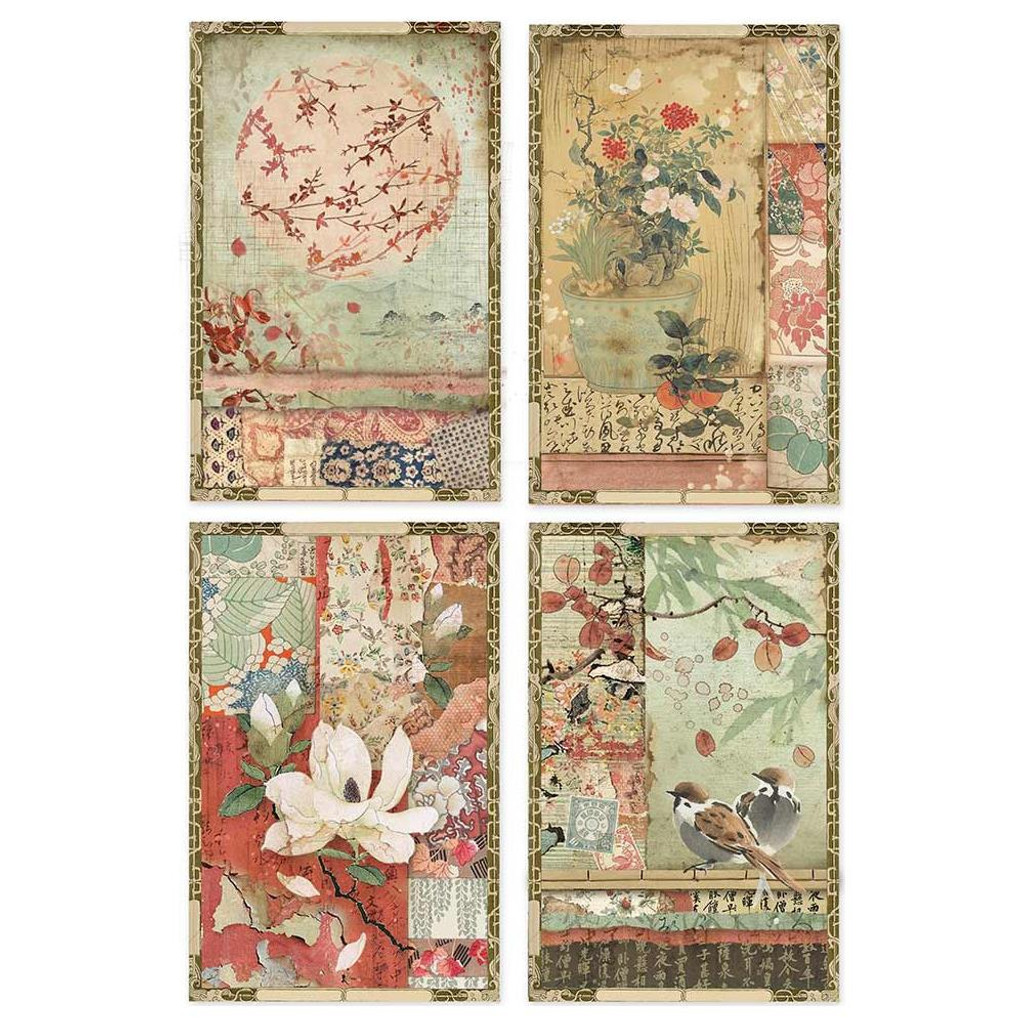 Stamperia - Decoupage Rice Paper A4 - Oriental Garden Collection - Japanese Postcards (DFSA4396)