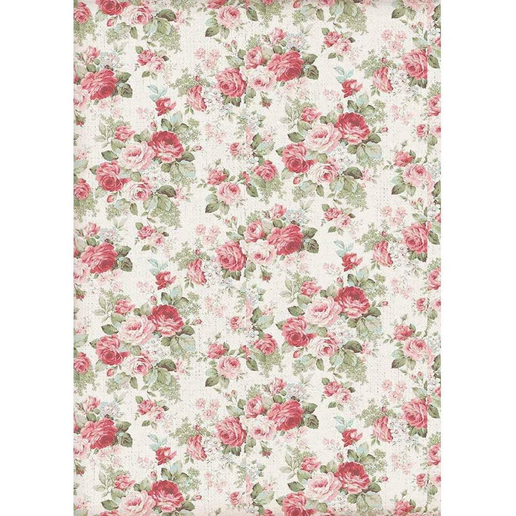 Stamperia - Decoupage Rice Paper A4 - Grand Hotel Collection - Texture Big Roses (DFSA4402)
