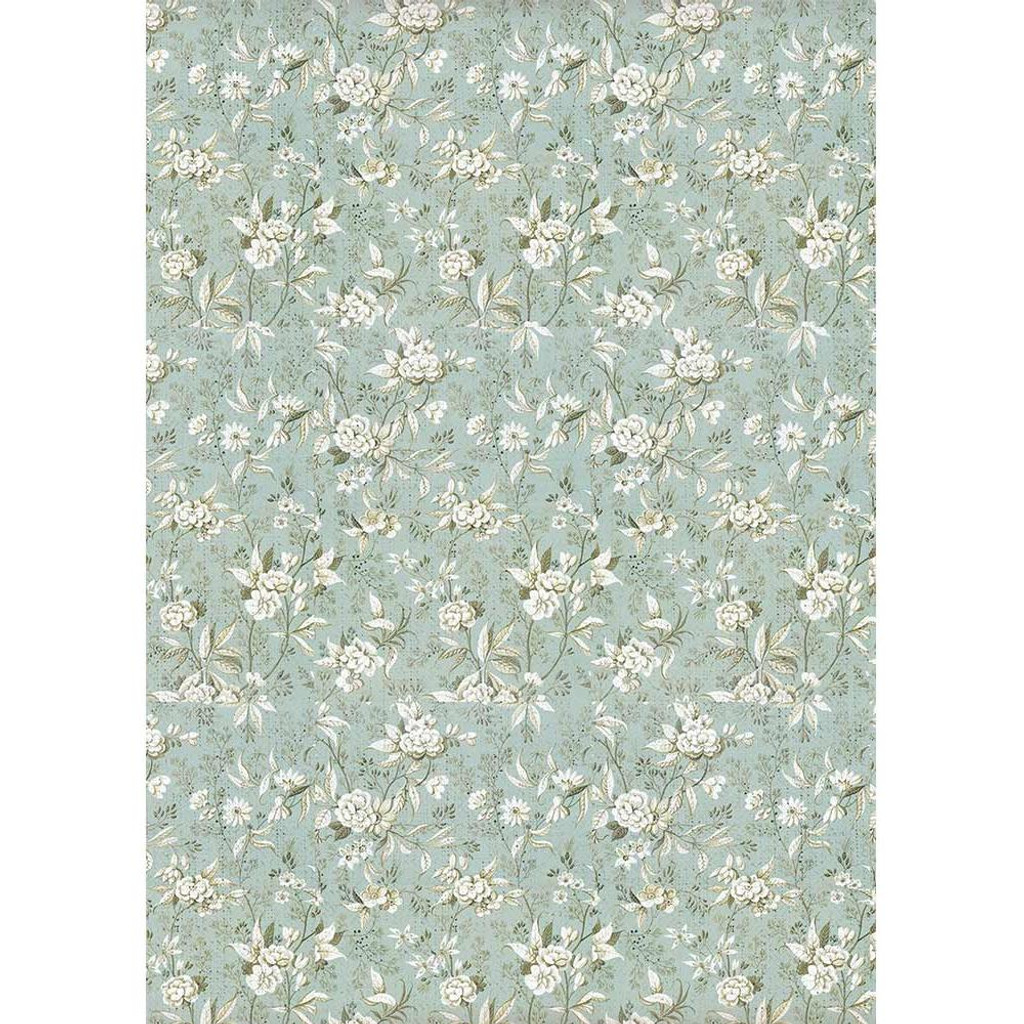 Stamperia - Decoupage Rice Paper A4 - Grand Hotel Collection - Jasmine On Light Blue Background (DFSA4403)