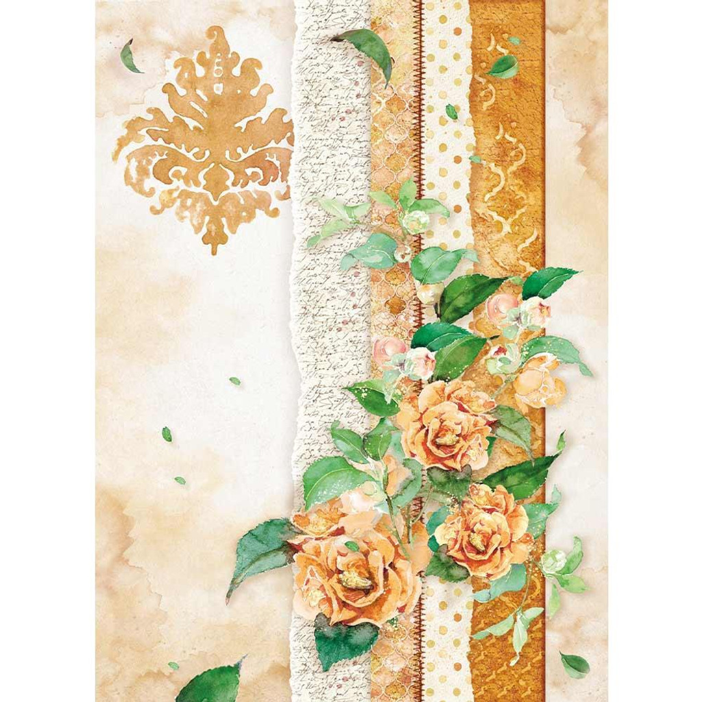 Stamperia - Decoupage Rice Paper A4 - Flowers For You Collection - Ocher (DFSA4416)