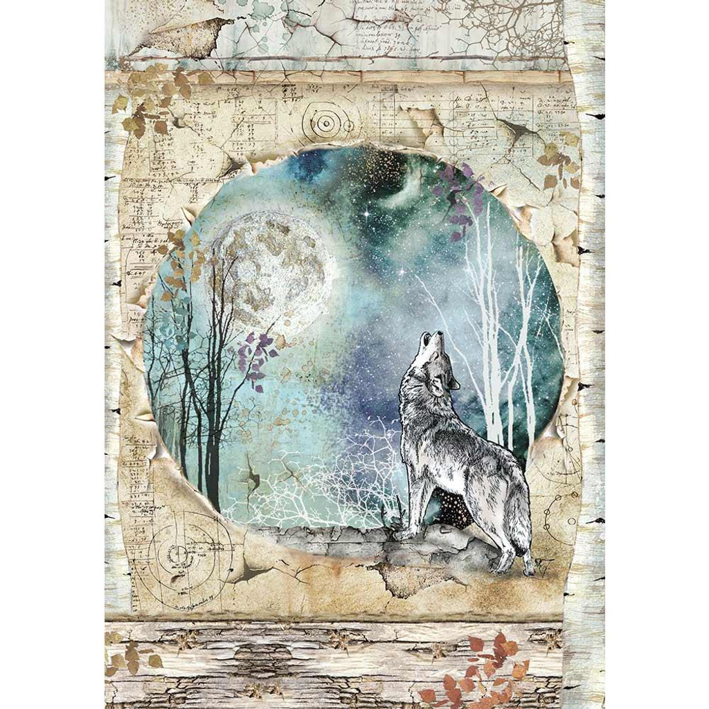 Stamperia - Decoupage Rice Paper A4 - Cosmos Collection - Cosmos Wolf & Moon (DFSA4388)