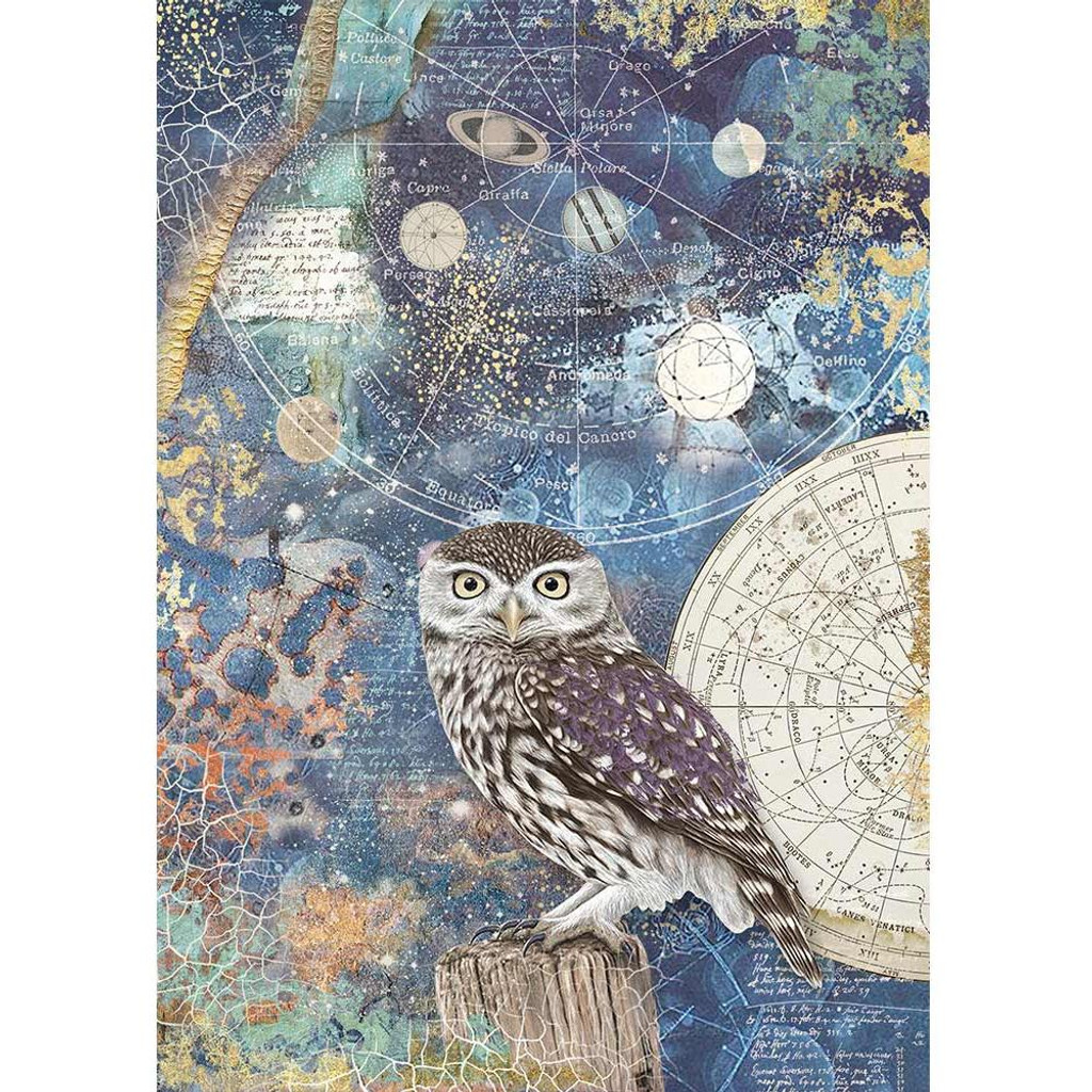 Stamperia - Decoupage Rice Paper A4 - Cosmos Collection - Cosmos Owl (DFSA4389)