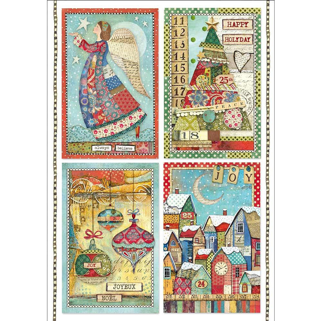 Stamperia - Decoupage Rice Paper A4 - Make A Wish - Patchwork Postcards (DFSA4408)