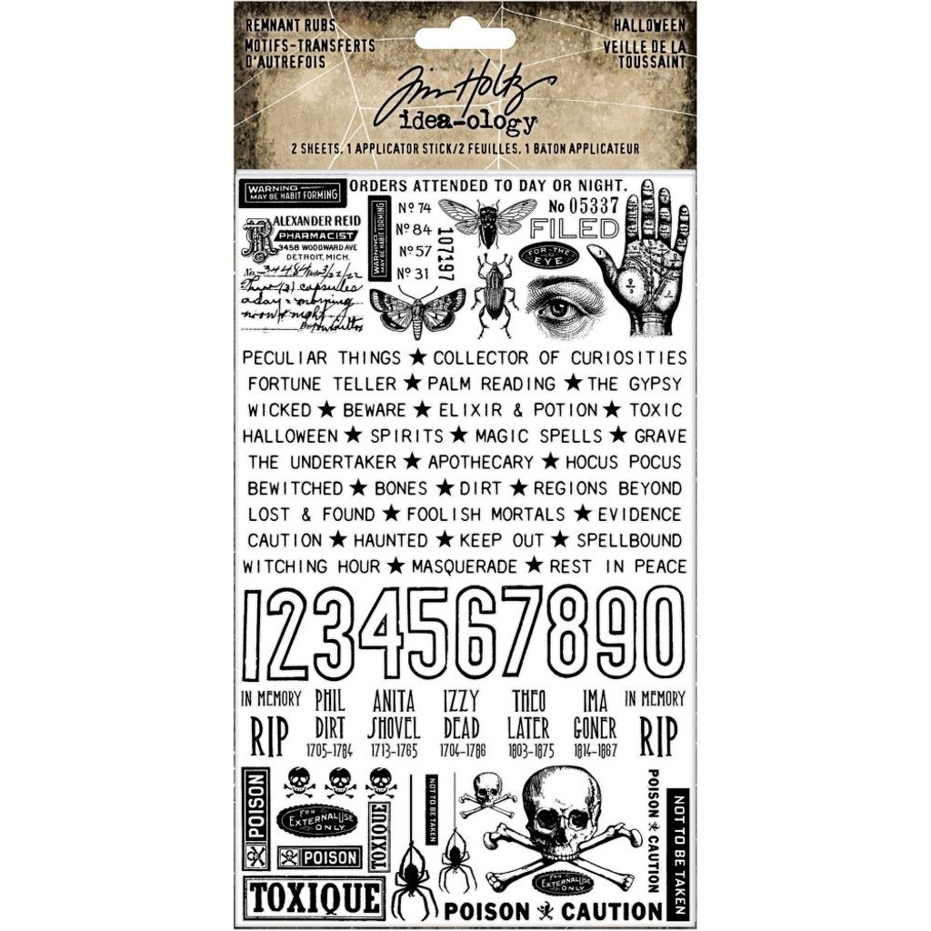 "Tim Holtz - Idea-Ology - Remnant Rub-Ons 4.75""X7.75"" 2/Pkg - Halloween 2019 (TH93972)"