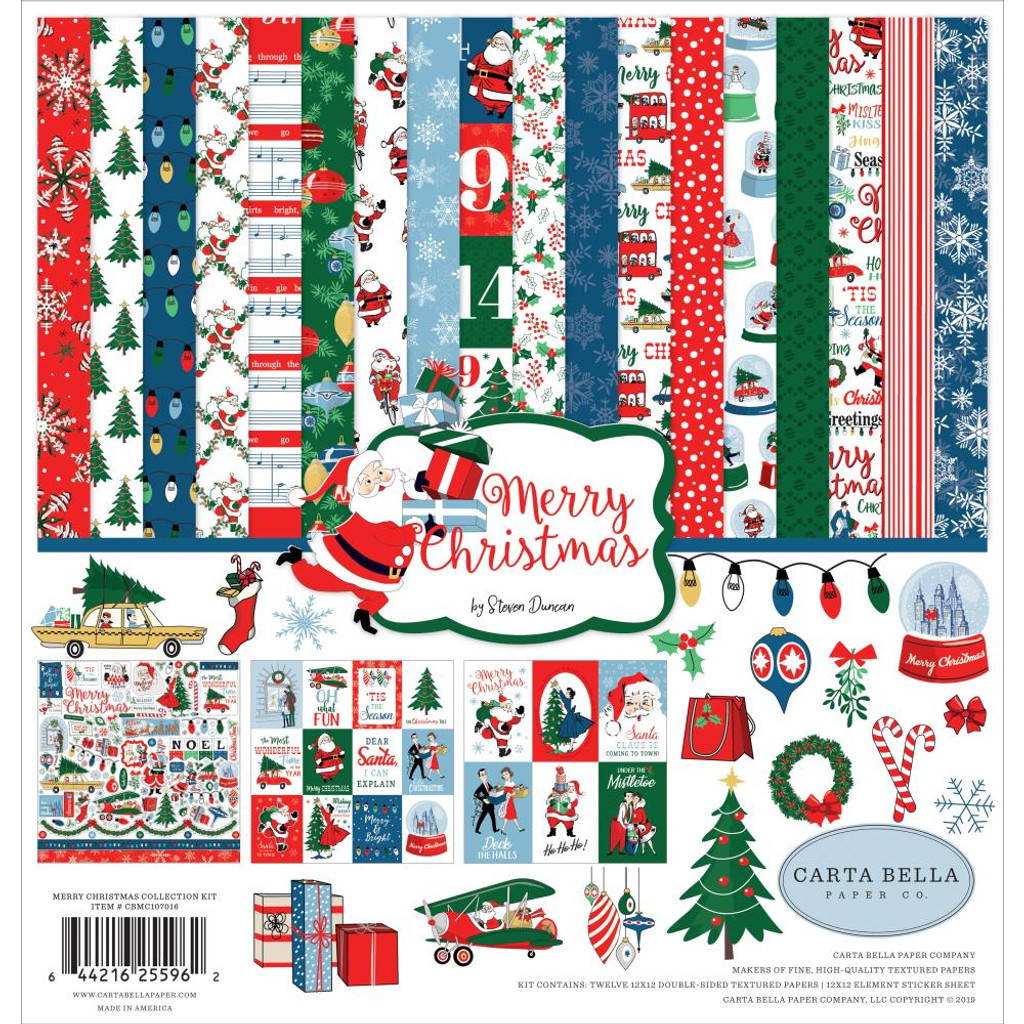Carta Bella - Double Sided Cardstock Collection Pack 12x12 - Merry Christmas (MC107016)