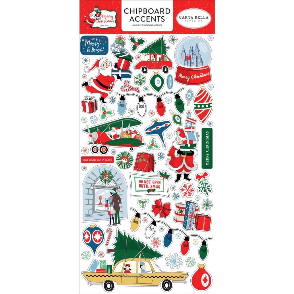 Carta Bella - Chipboard Stickers 6x12 - Merry Christmas (MC107021)
