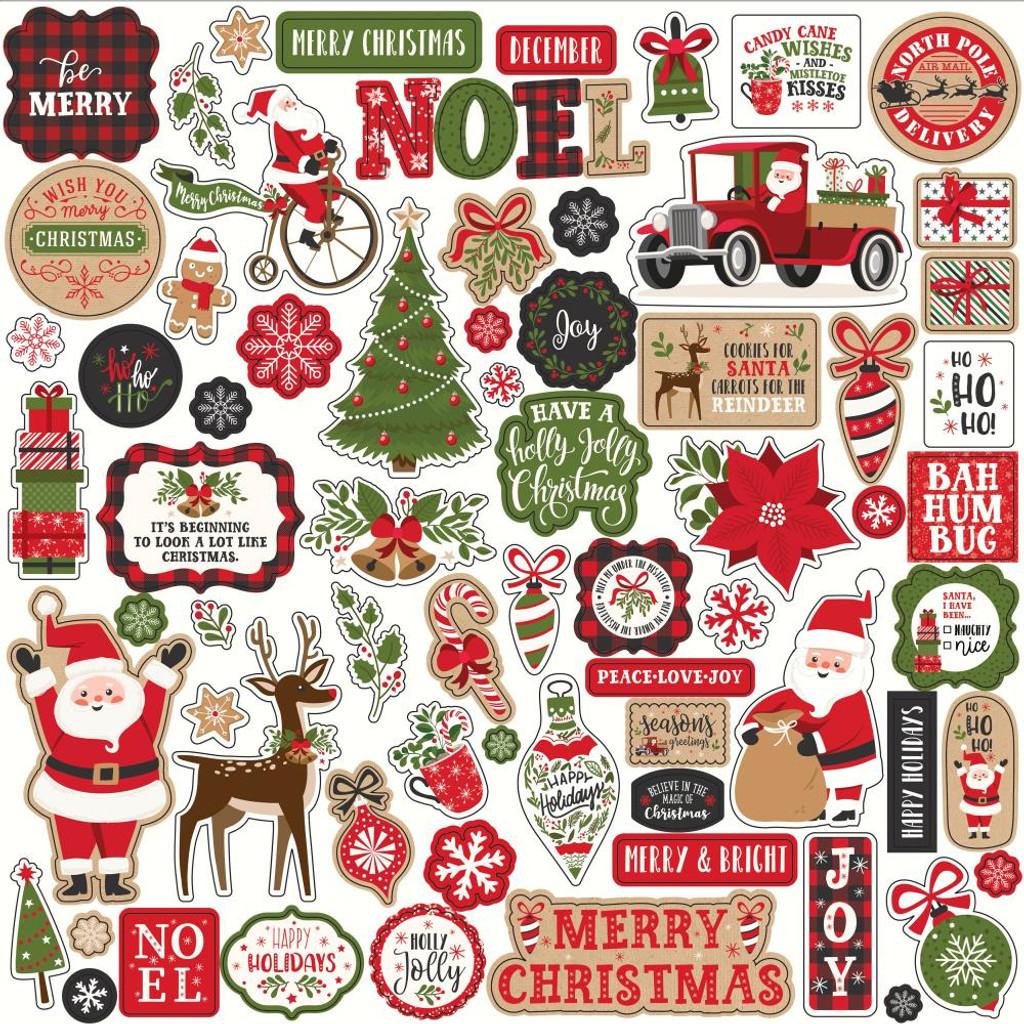 Echo Park - Cardstock Element Sticker Sheet 12x12 - My Favorite Christmas (MF190014)