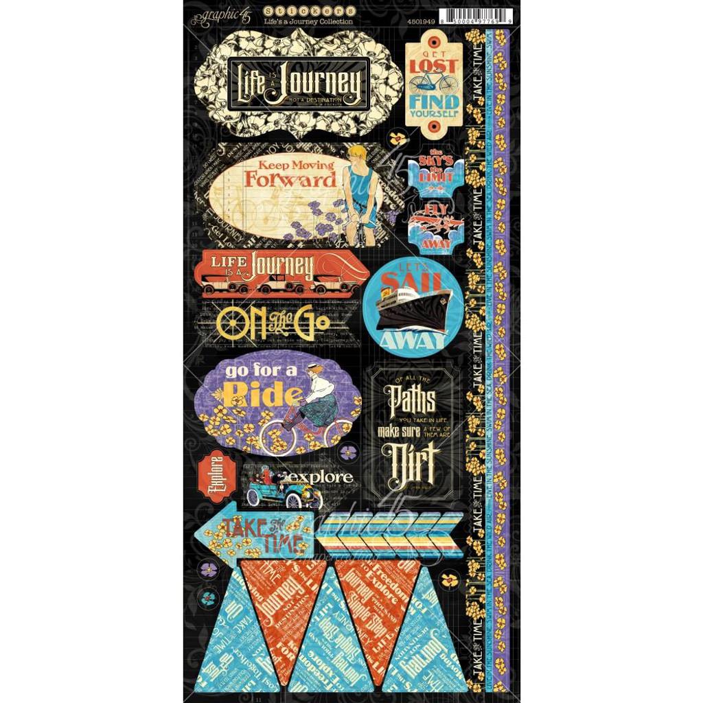 Graphic 45 - Cardstock Stickers 2/Pkg 6x12- Life's Journey (G4501949)