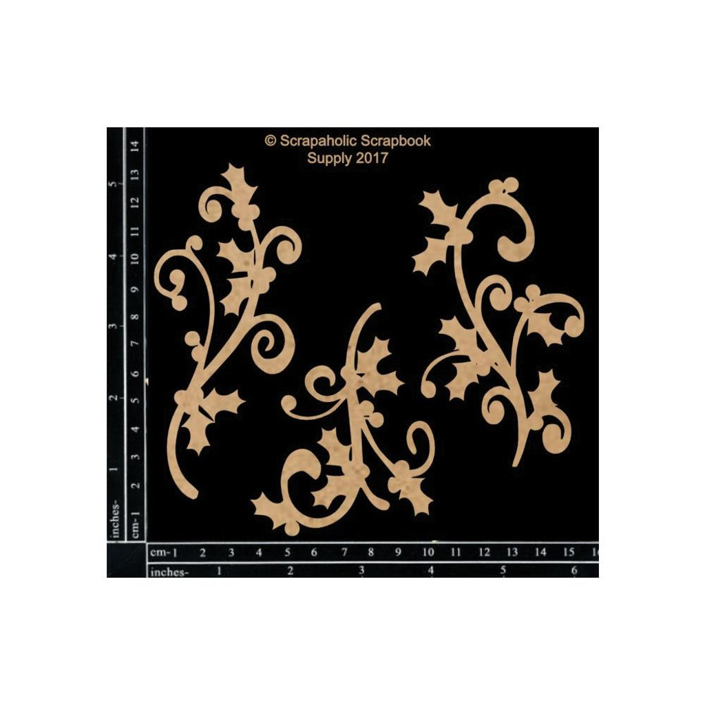 Scrapaholics - Laser Cut Chipboard - Holly Flourishes (S50237)