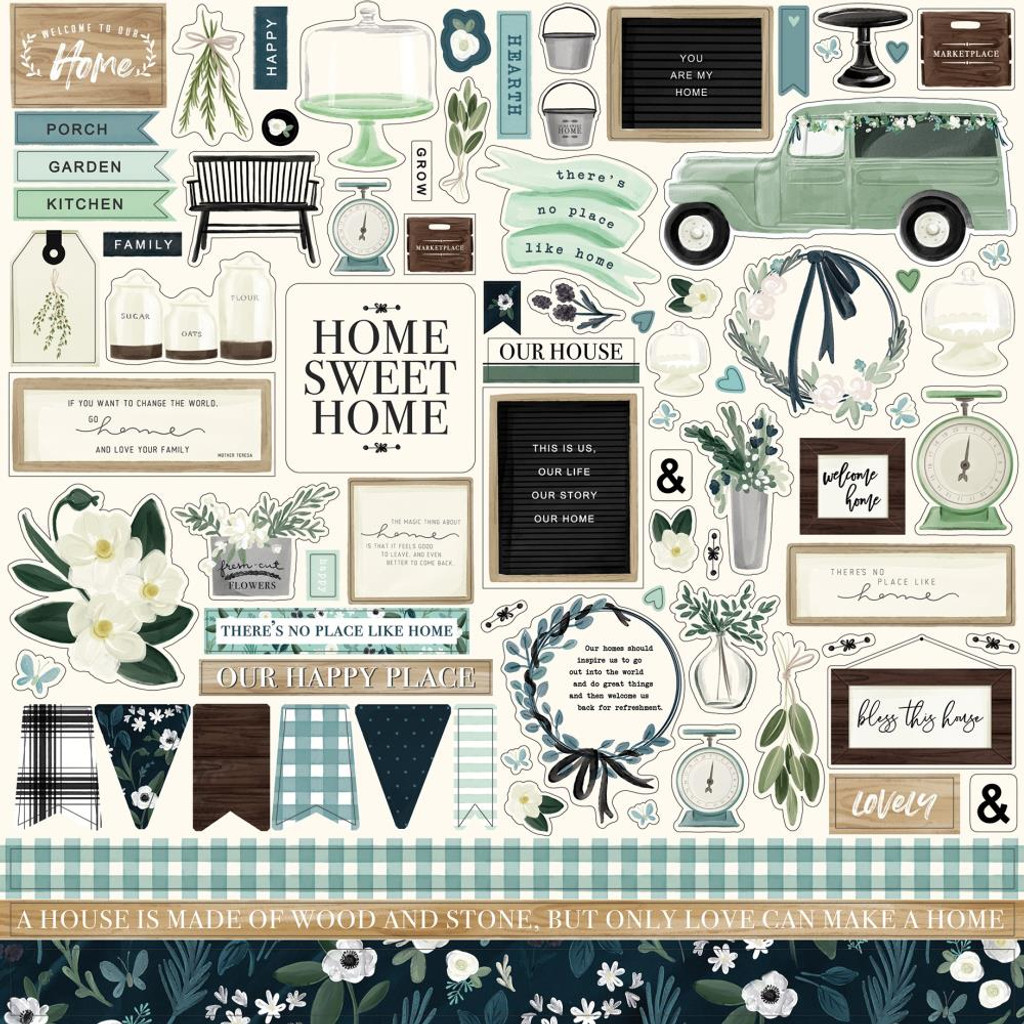 Carta Bella - Element Sticker Sheet 12x12 - Home Again (HO109014)
