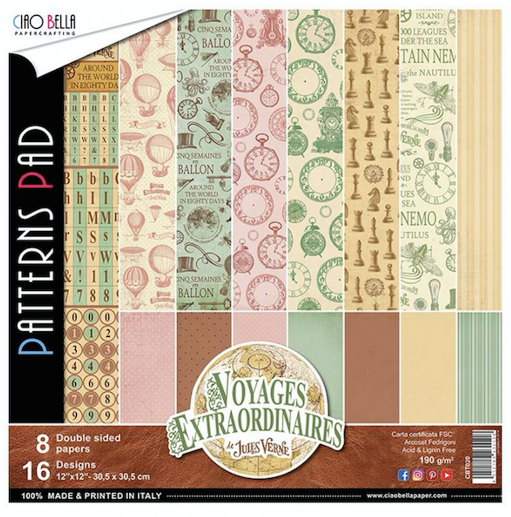 Ciao Bella - Double-Sided Paper Collection 12x12 8/Pkg - Voyages Extraordinaires (CBT020)