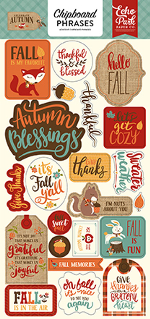 "Echo Park Paper - Chipboard 6""X13"" - Phrases - Celebrate Autumn (AU158022)"