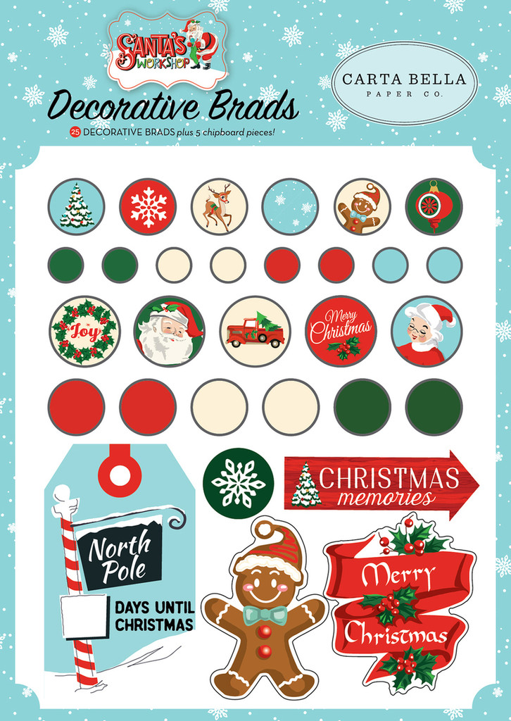Carta Bella - Decorative Brads & Chipboard - Santa's Workshop (CBSW90020