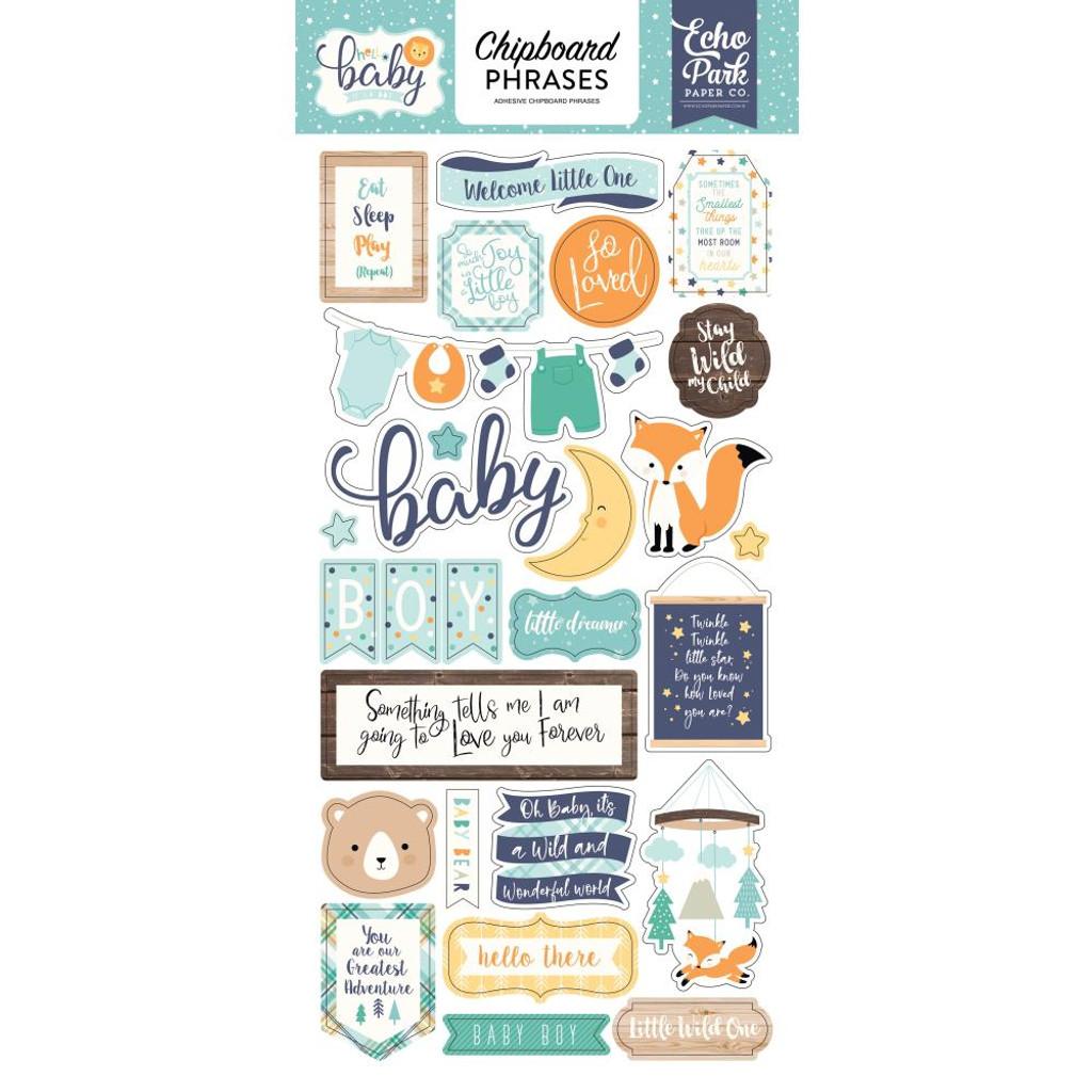 "Echo Park Paper - Chipboard 6""X13"" - Phrases - Hello Baby Boy (BB172022)"