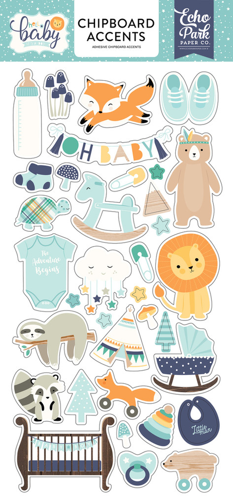 "Echo Park Paper - Chipboard 6""X13"" - Accents - Hello Baby Boy (BB172021)"