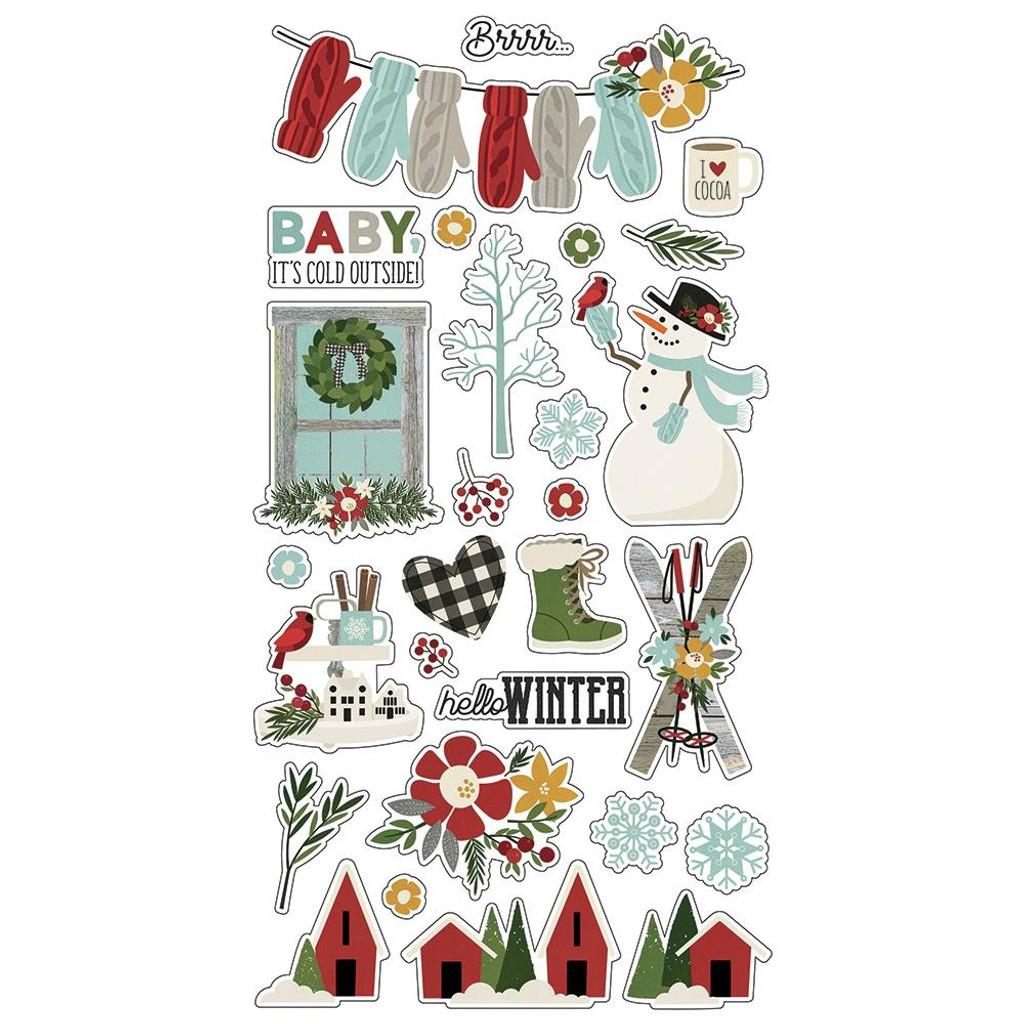 Simple Stories - Chipboard Stickers 6 X 12 - Winter Farmhouse (WTR11619)