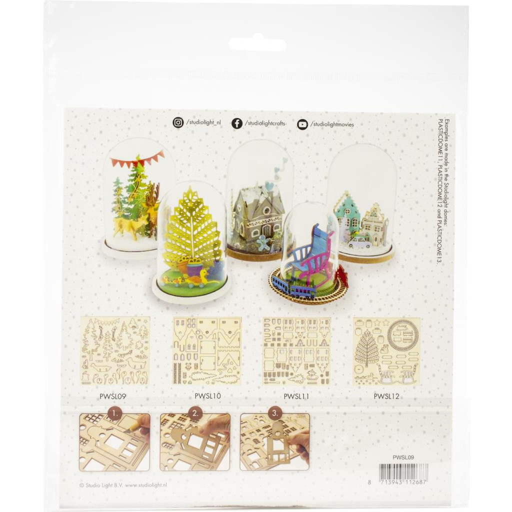 Studio Light - 3-D Plywood Favourites Scenery - Christmas Tree W/Train (PWSL12)