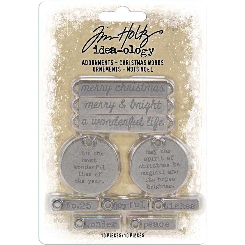 Tim Holtz - Idea-Ology - Antique Nickel Christmas 2019 Words Adornments 10/Pkg (TH93991)