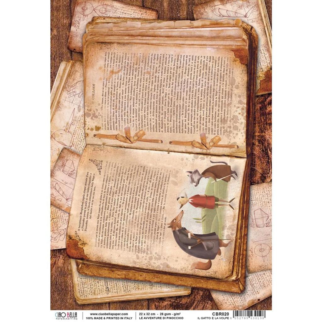 Ciao Bella - Decopague Rice Paper A4 -Pinocchio - Avventure Di Pinocchio (CBR020)