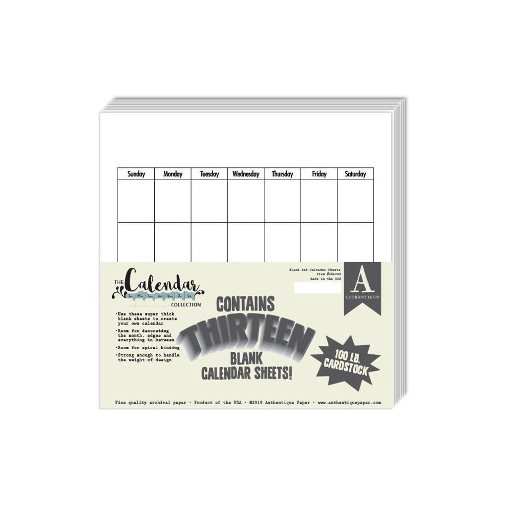 Authentique - 100lb Single-Sided Cardstock 8x8 13/Pkg (CAL-068)