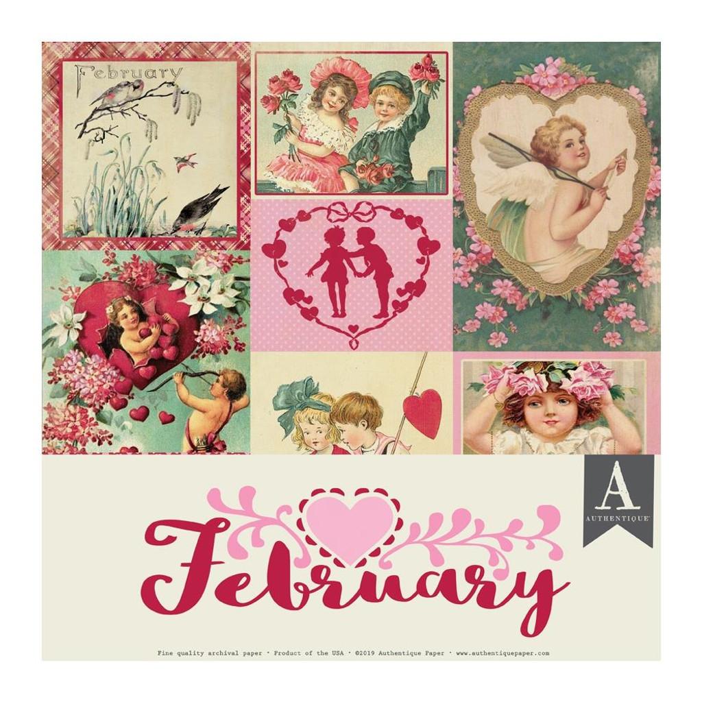 Authentique - Calendar Collection 12x12 - 3/Pkg February (CAL-050)