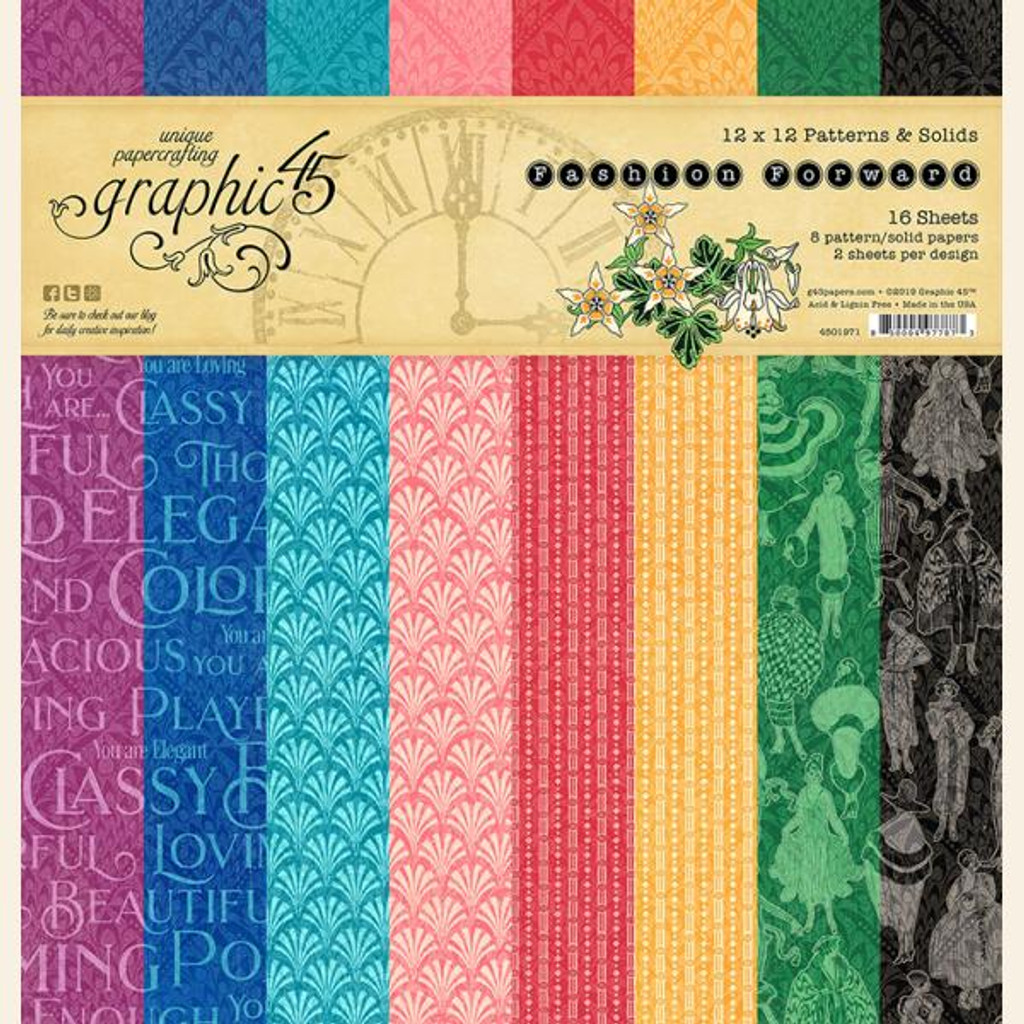 Graphic 45 - 12x12 Patterns & Solid Pad - Fashion Forward (G4501971)