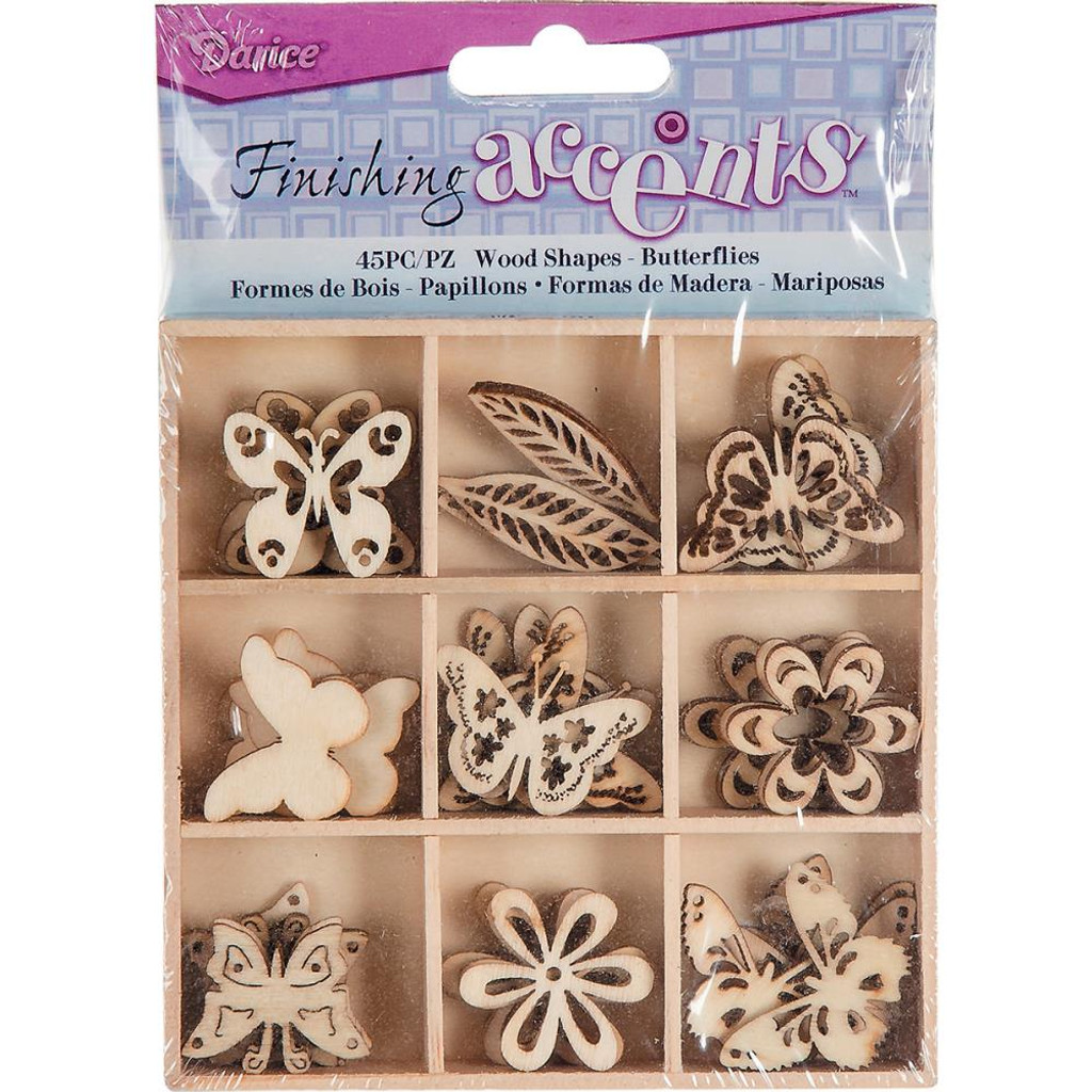 Darice - Flourish Wooden Pack - Butterflies - 45/pkg (WS2015 01)