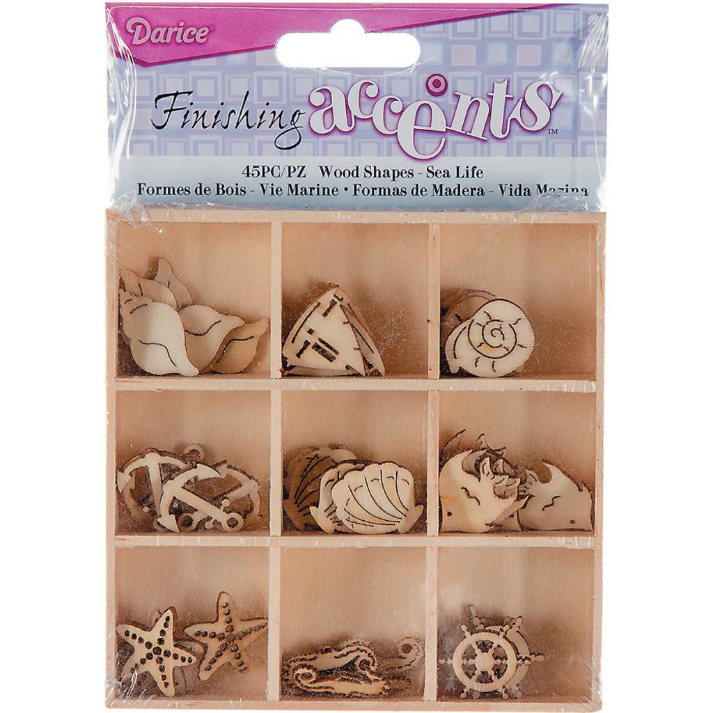 Darice - Flourish Wooden Pack - Sea Life - 45/pkg (WS2015 05)