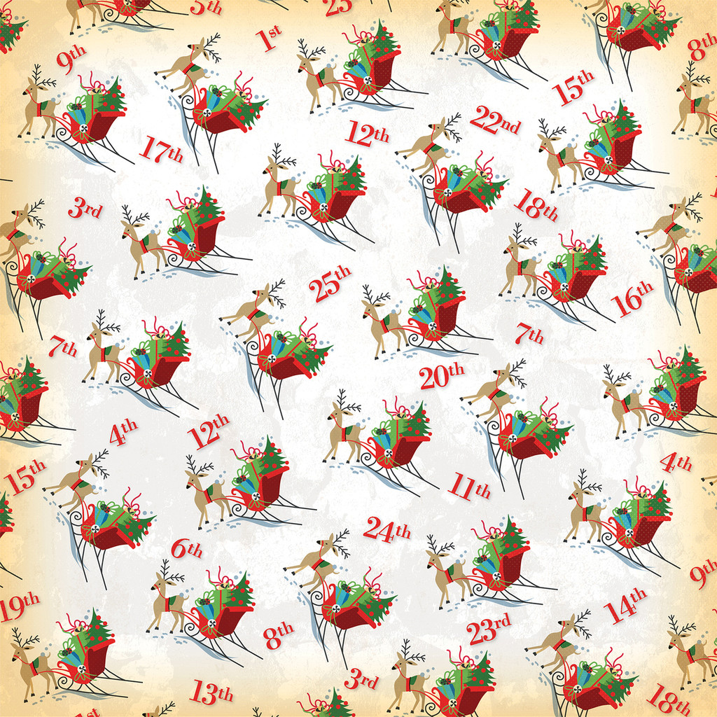 Carta Bella - A Very Merry Christmas 12x12 Cardstock - Christmas Countdown (CBVMC72008)
