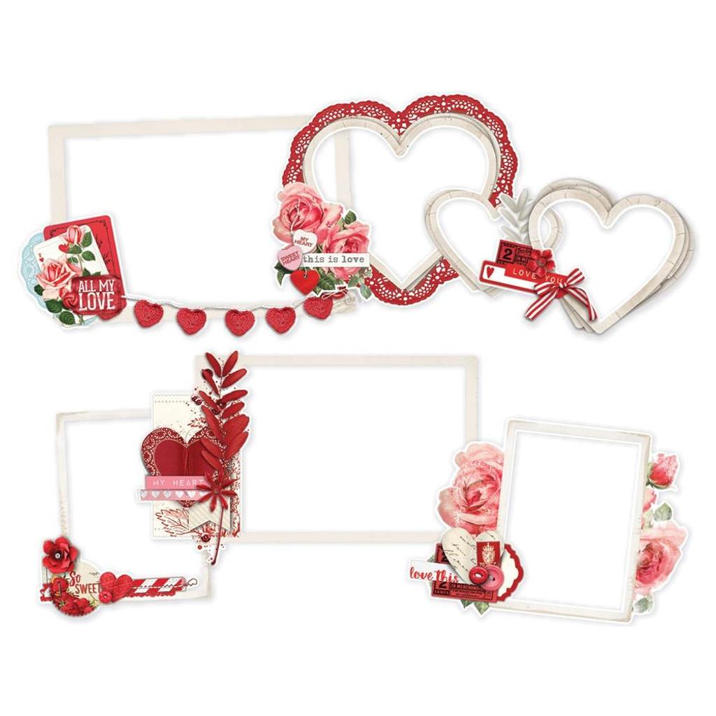 Simple Stories - Chipboard Layered Frames Die-Cuts 6/Pkg - Simple Vintage My Valentine (MV11828)