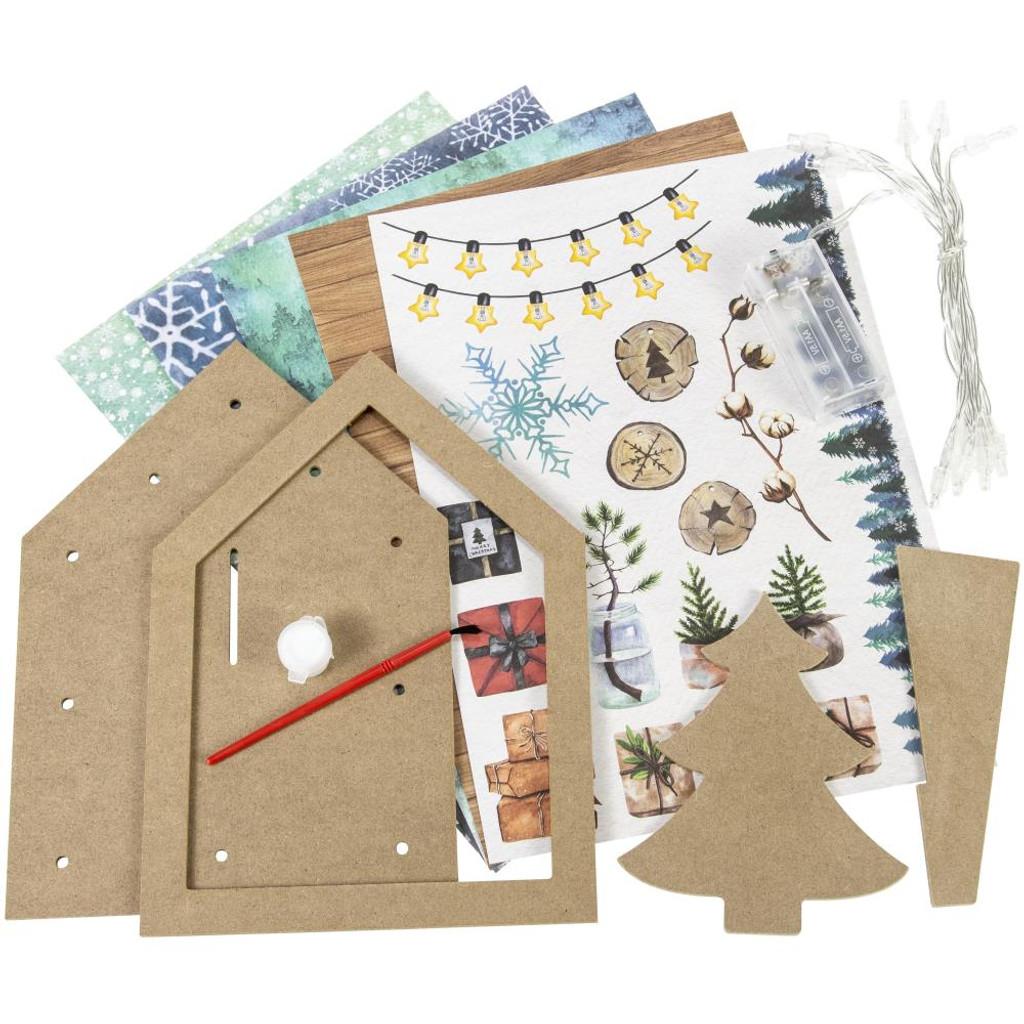 Studio Light - Create Your Life - MDF Christmas Set - 3D House with Tree (MDFSL57)