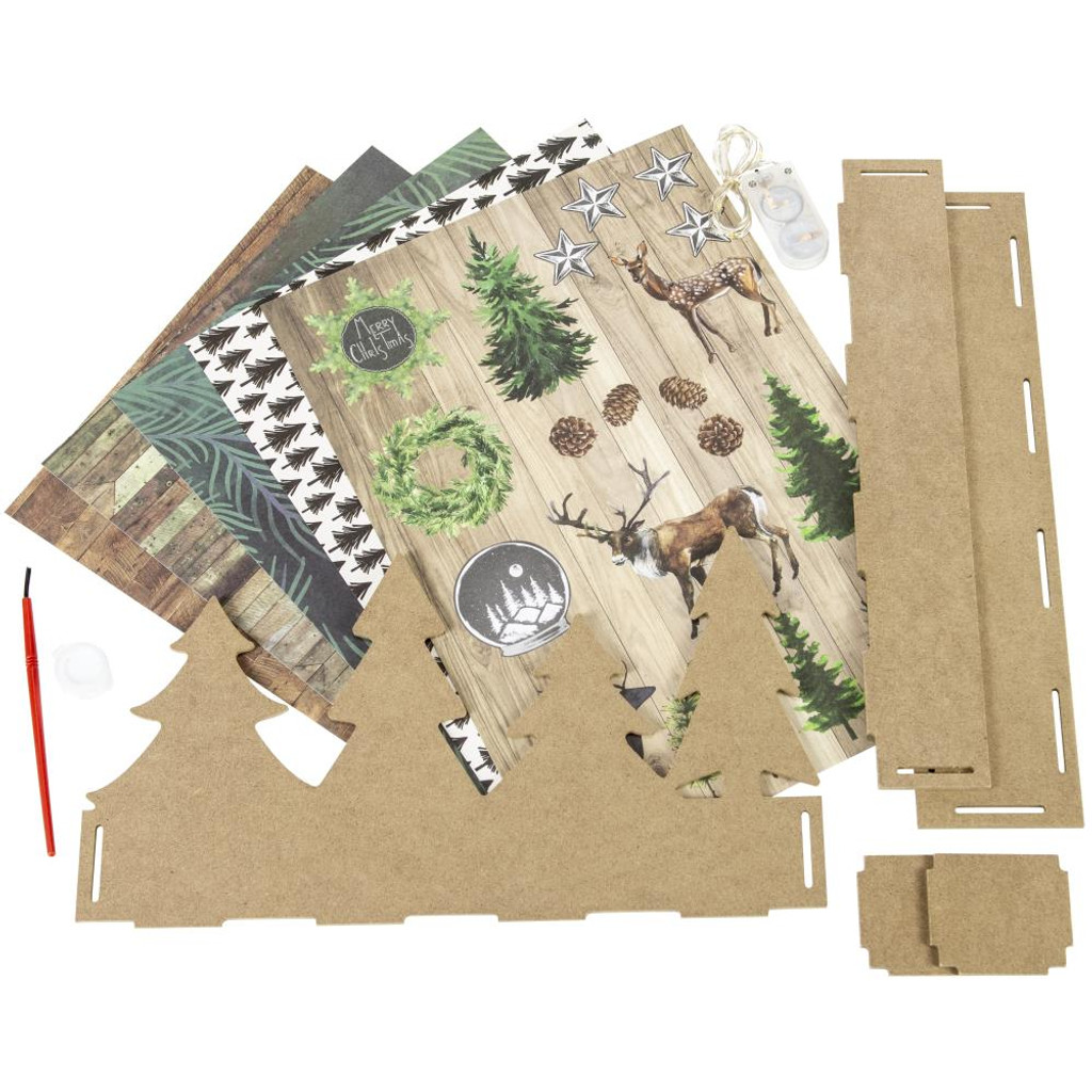 Studio Light - Create Your Life - MDF Christmas Set - 3D Tree Line with Deer (MDFSL56)