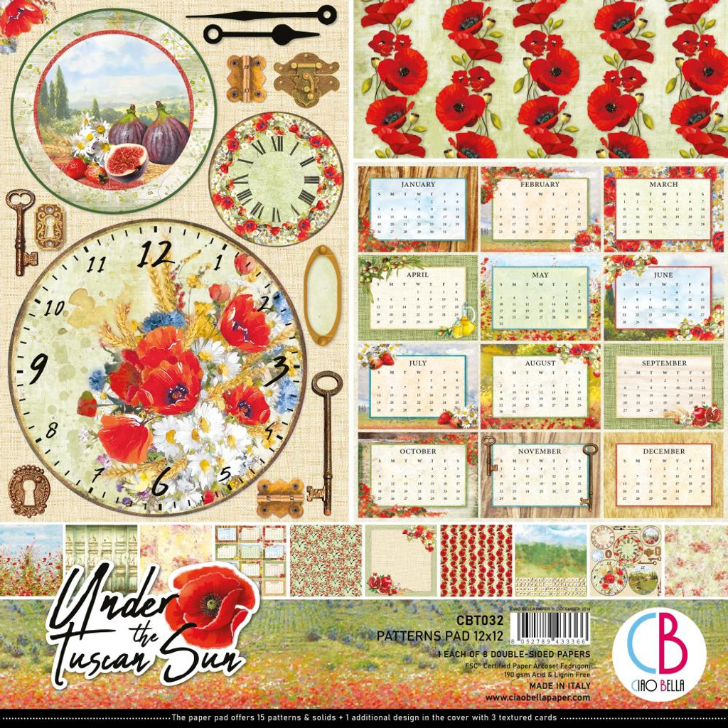 """Ciao Bella - 12""""X12"""" Double-Sided Patterns Pad 7/pkg - Under the Tuscan Sun (CBT032)"""