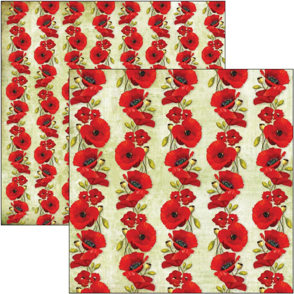 Ciao Bella - 12x12 Double-Sided Cardstock - Under the Tuscan Sun - Poppies (CBSS103)