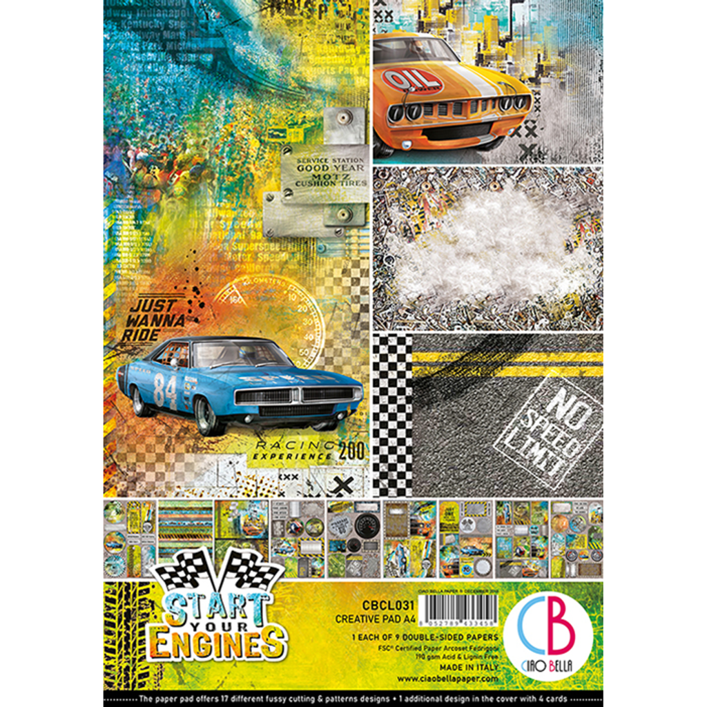 Ciao Bella - A4 Creative Pack 9/Pkg Double-Sided - Start Your Engines (CBCL031)
