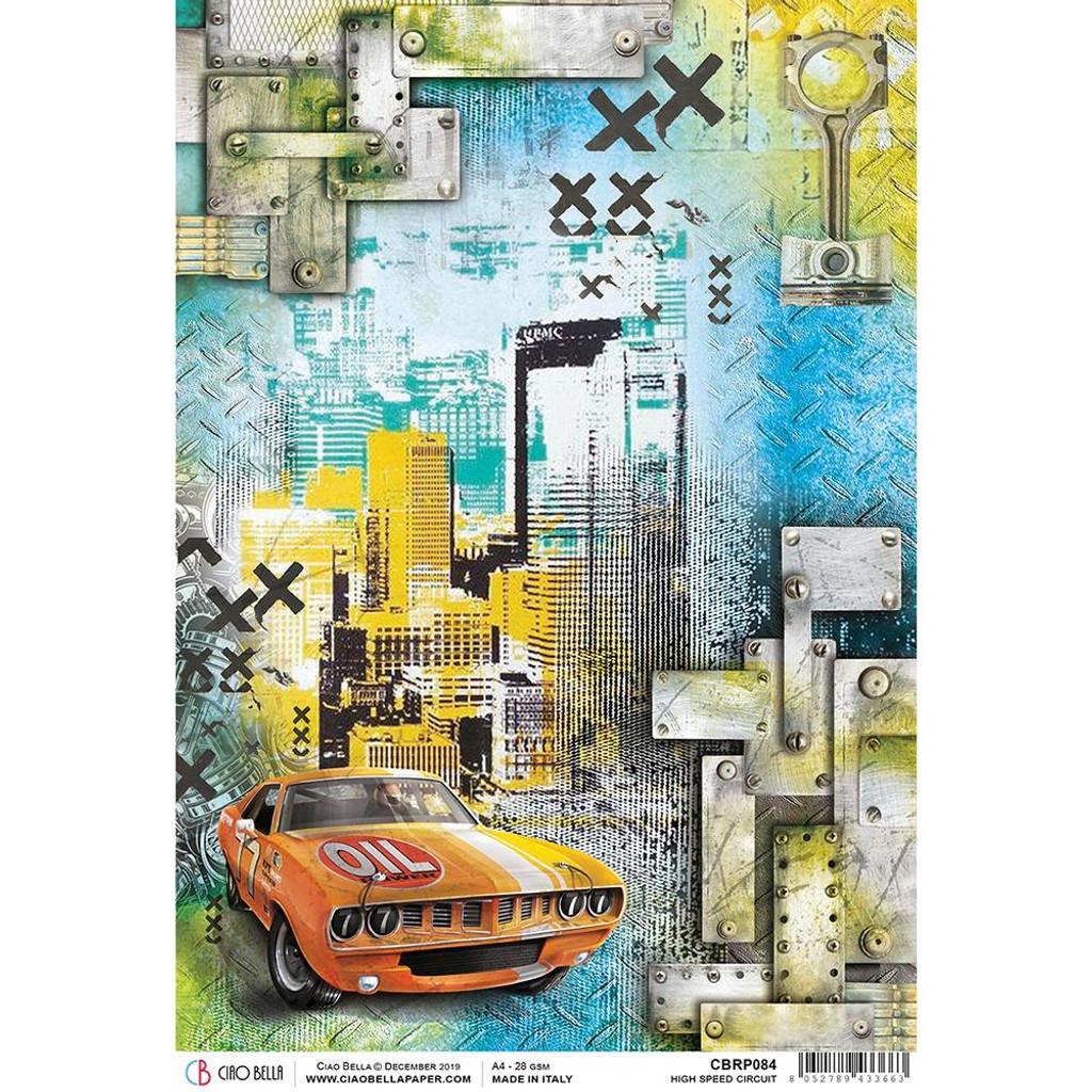 Ciao Bella - Decopague Rice Paper - Start Your Engines - High Speed Circut (CBRP084)