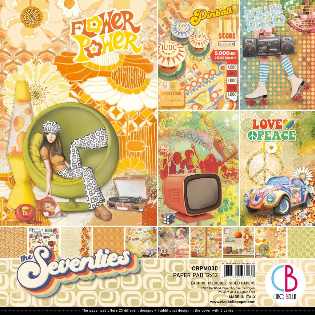 """Ciao Bella - 12""""X12"""" Double-Sided Paper Pack 11/pkg - The Seventies (CBPM030)"""