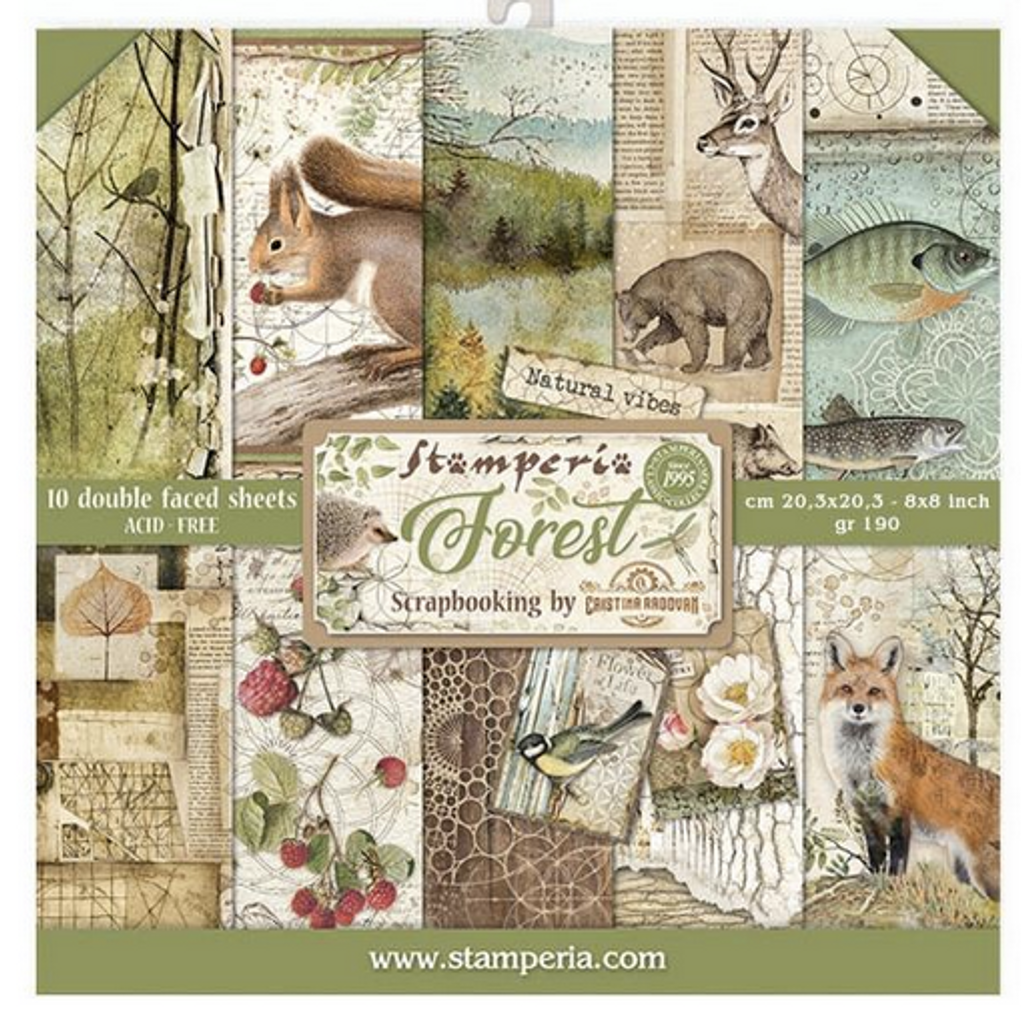 Stamperia - Double-Sided Cardstock Collection 8x8 - Forest (SBBS06)