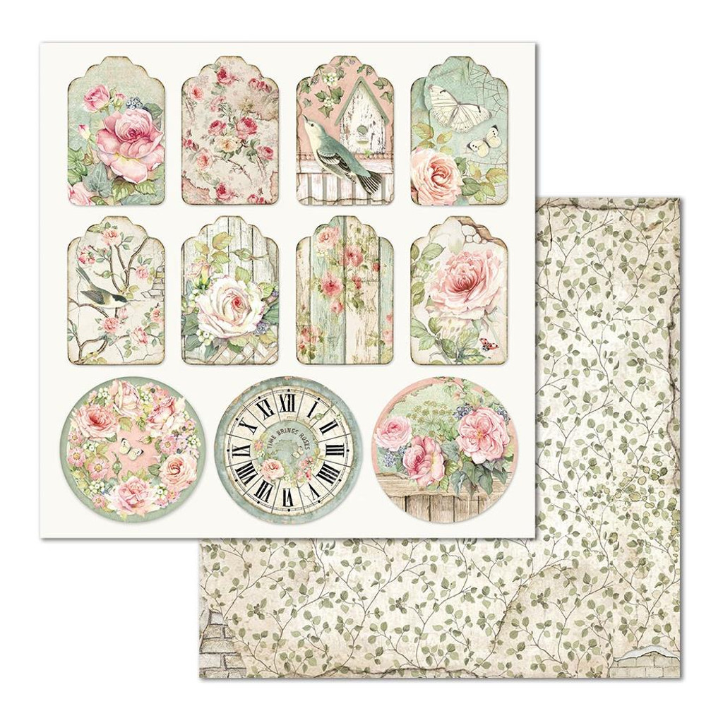 Stamperia - Double-Sided Cardstock 12x12 - House of Roses - Tags (SBB677)