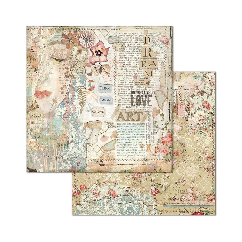 Stamperia - Double-Sided Cardstock 12x12 - Imagine - Love Art Face (SBB667)