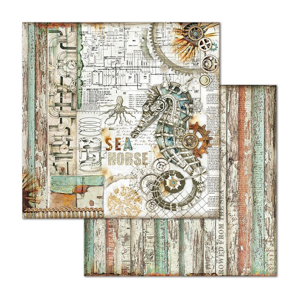 Stamperia - Double-Sided Cardstock 12x12- Sea World - Seahorse (SBB664)