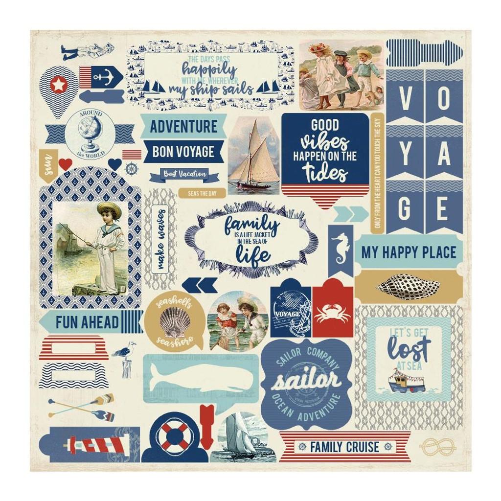 Authentique - Element Sticker Sheet 12x12 - Voyage (VOY013)