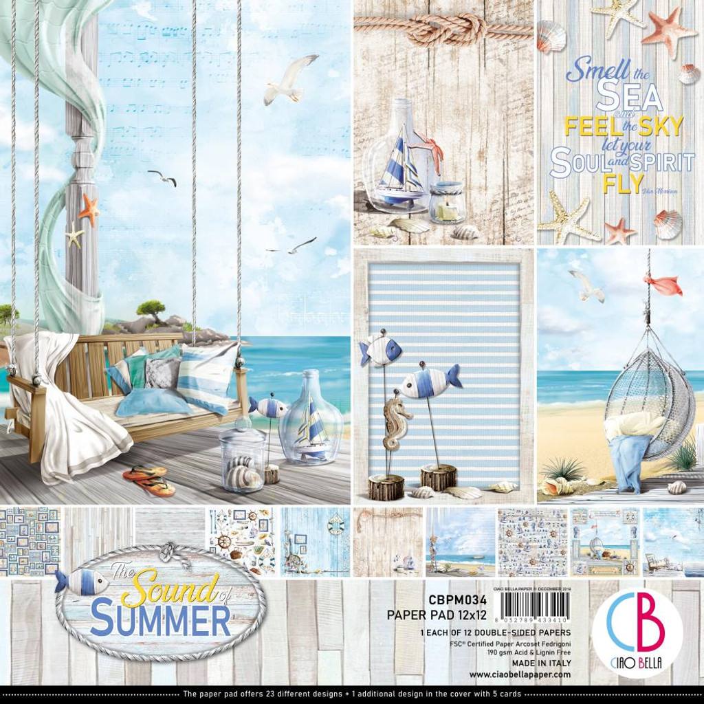 "Ciao Bella - 12""X12"" Double-Sided Paper Pack 11/pkg - Sound of Summer (CBPM034)"