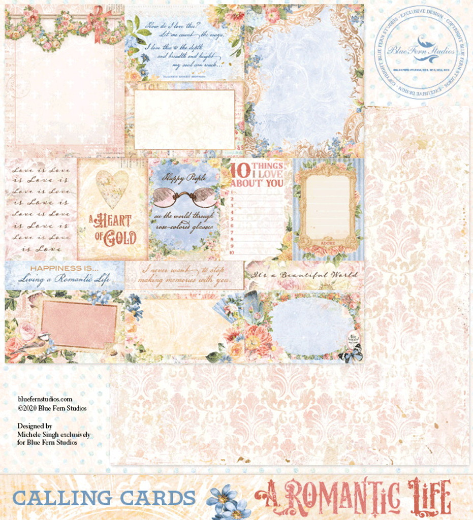 Blue Fern Studios - Double-Sided Paper 12x12 - A Romantic Life - Calling Cards (700277)