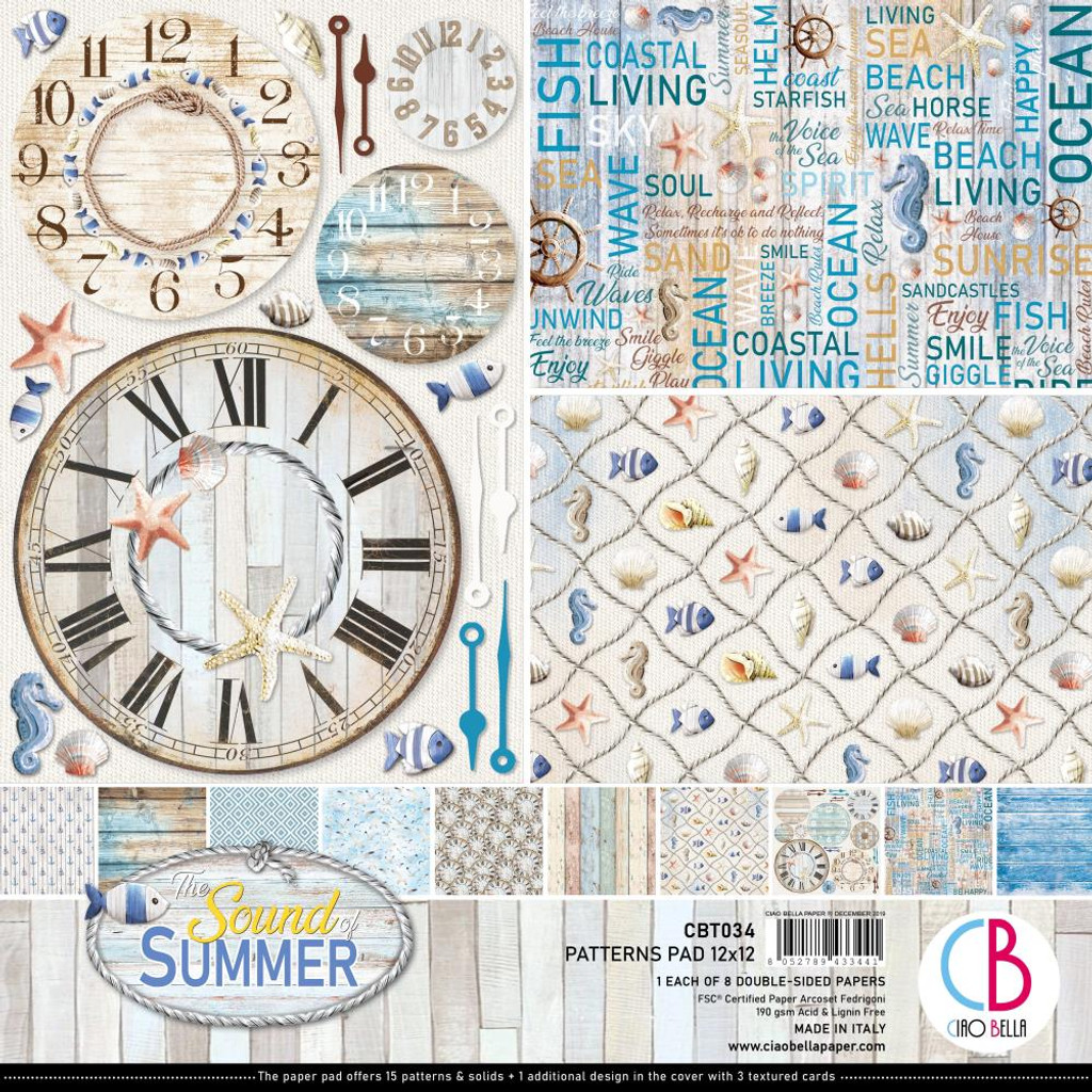 """Ciao Bella - 12""""X12"""" Double-Sided Patterns Pad 7/pkg - Sound of Summer (CBT034)"""