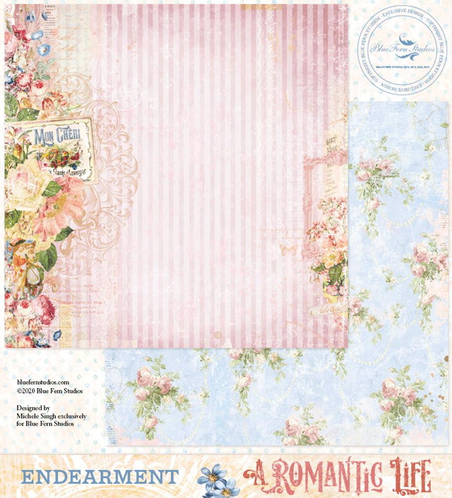 Blue Fern Studios - Double-Sided Paper 12x12- A Romantic Life - Endearment ( ARL- EN)