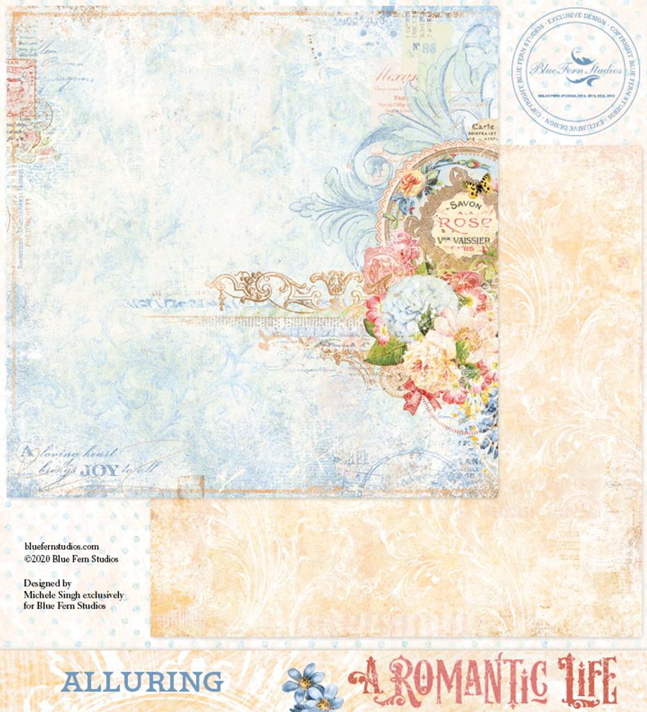 Blue Fern Studios - Double-Sided Paper 12x12- A Romantic Life - Alluring (ARL- AL)