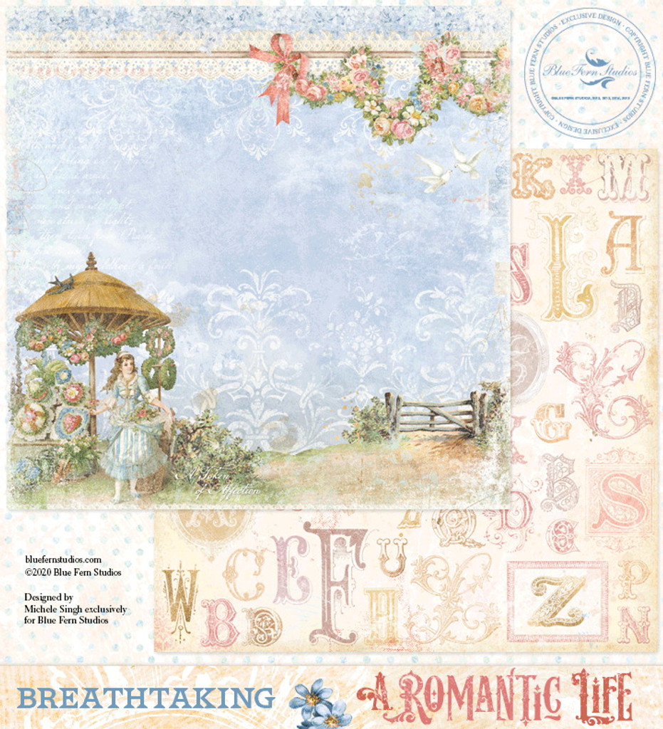 Blue Fern Studios - Double-Sided Paper 12x12- A Romantic Life - Breathtaking (ARL- BT)